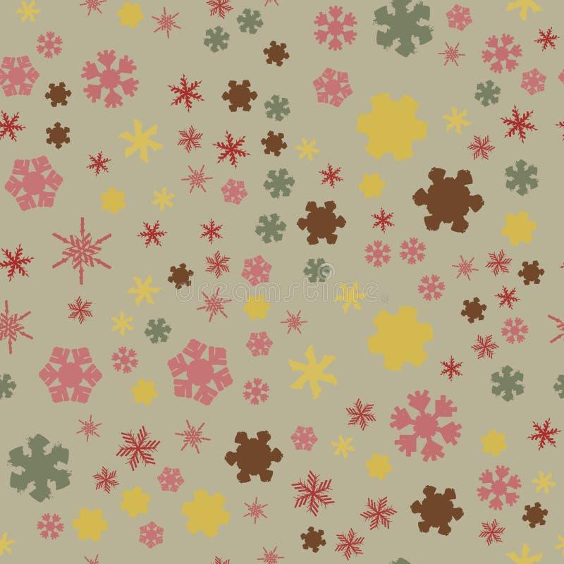 Chunky Snowflakes Seamless 02 ilustración del vector