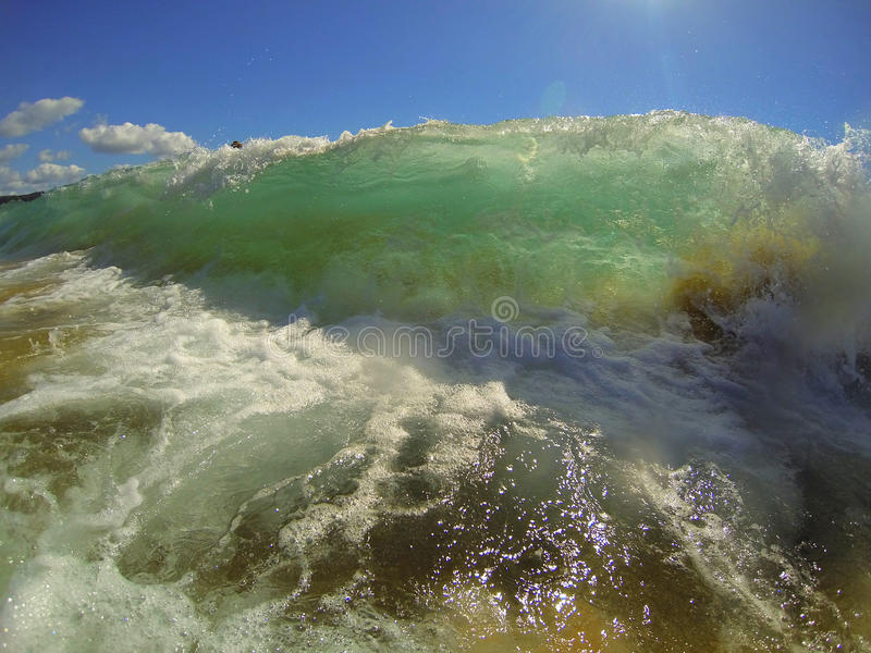 Chunky Wave. A picture of a chunky shorebreak wave about to break on the sand. Taken with a GoPro at Palm Beach, NSW stock images