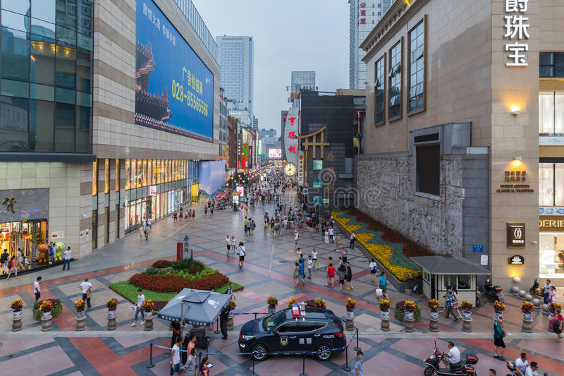 Chunxi Road in Chengdu, China. Chengdu, China - July 30, 2015 - Lots of people on the famous pedestrianized shopping street Chunxi road before nightfall, in stock images
