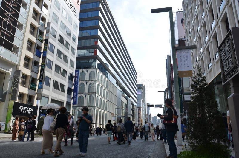 Chuo-Dori in Ginza Tokyo Japan royalty-vrije stock foto's