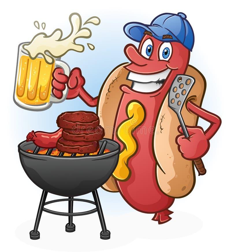 Chupar rueda de la historieta del perrito caliente con la cerveza y el personaje de dibujos animados del Bbq stock de ilustración