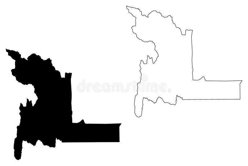 Chuquisaca-Abteilungs-multinationaler Staat von Bolivien, Abteilungen der Bolivien-Kartenvektorillustration, Gekritzelskizze Chuq stock abbildung