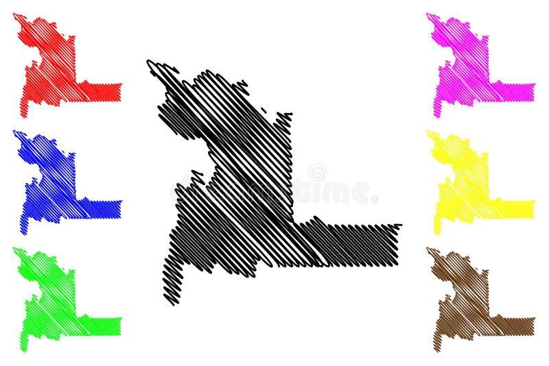 Chuquisaca-Abteilungs-multinationaler Staat von Bolivien, Abteilungen der Bolivien-Kartenvektorillustration, Gekritzelskizze Chuq lizenzfreie abbildung