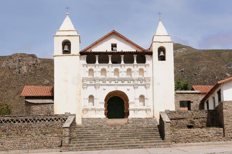 Churcche colonial en Perú, Coporaque, barranca de Colca fotos de archivo