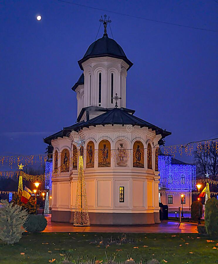 """The church """"St. Voievozi """"from Târgu Jiu-night wiev. The church """"St. Voievozi """"from Târgu Jiu is a historical monument located on the territory of Tâ royalty free stock image"""