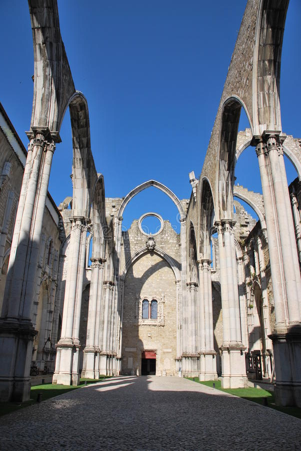 Church. Famous Carmo Church ruins after the earthquake in 1755 in Lisbon, Portugal stock photo