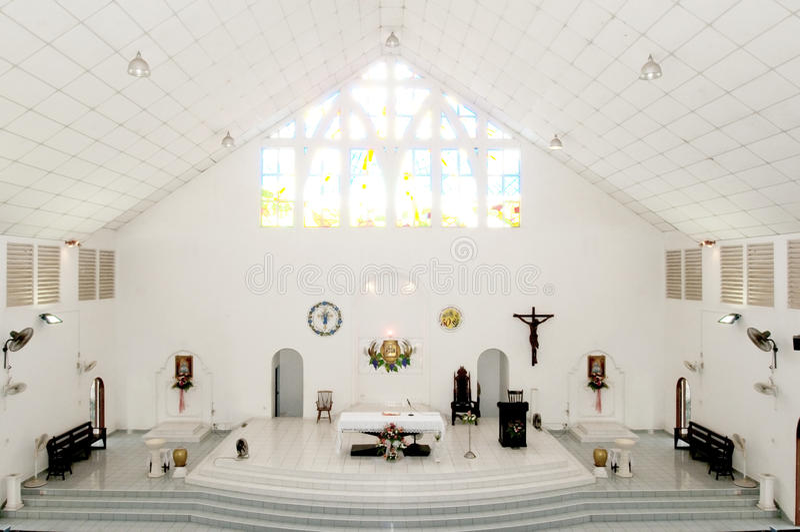 Church. Quiet white Church, the Church's inner sanctuary stock images