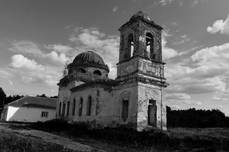 Abandoned old church in a little village. royalty free stock image