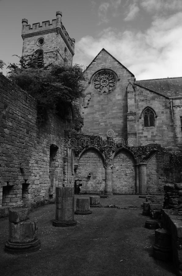 Church and Abbey Ruins. A view of the ruins of Culross abbey and the church above royalty free stock photos