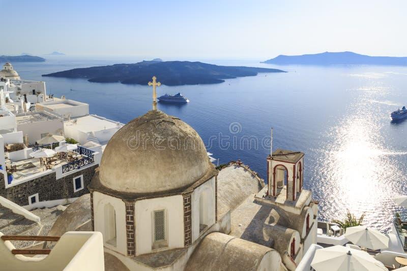 Church of Agia Irini with city view in Thira town, Santorini, Greece royalty free stock photos
