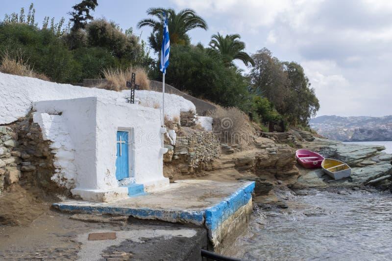 White church of Agia Pelagia on the beach in Crete. Little white church on the beach in Agia Pelagia, Crete royalty free stock photos