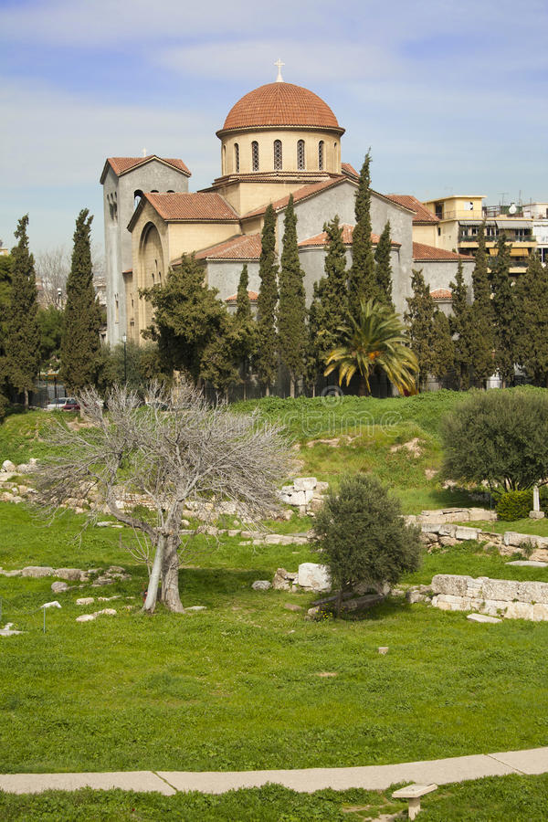 Church of Agia Triada in Athens stock photography