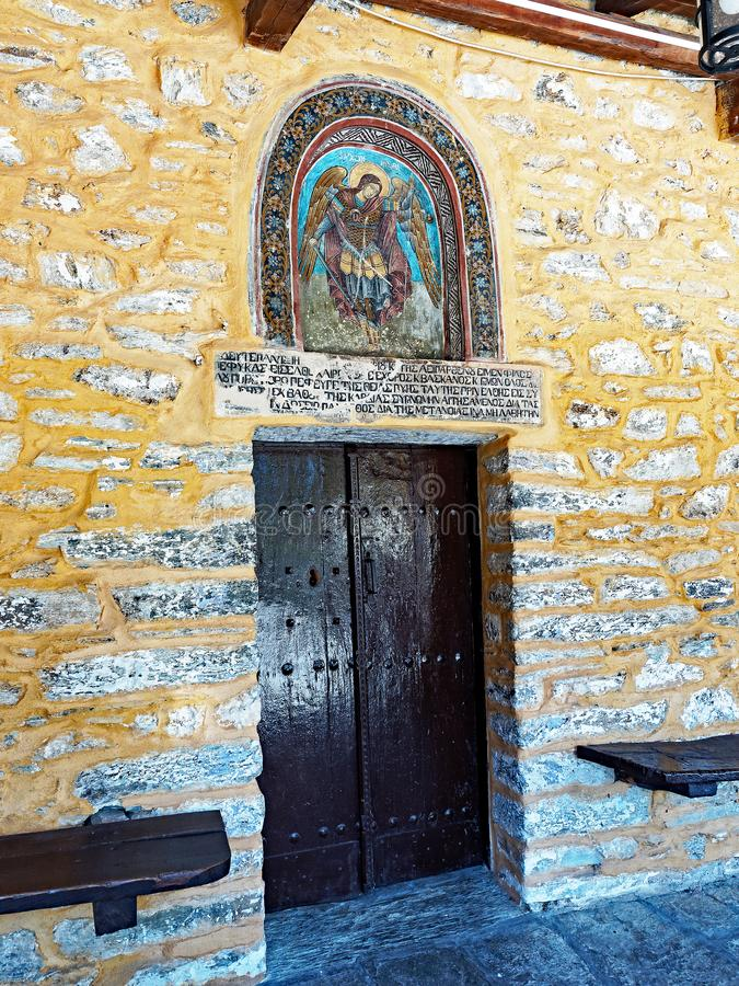 The church of Agioi Taxiarches in Milies, Pelion, Greece stock photography
