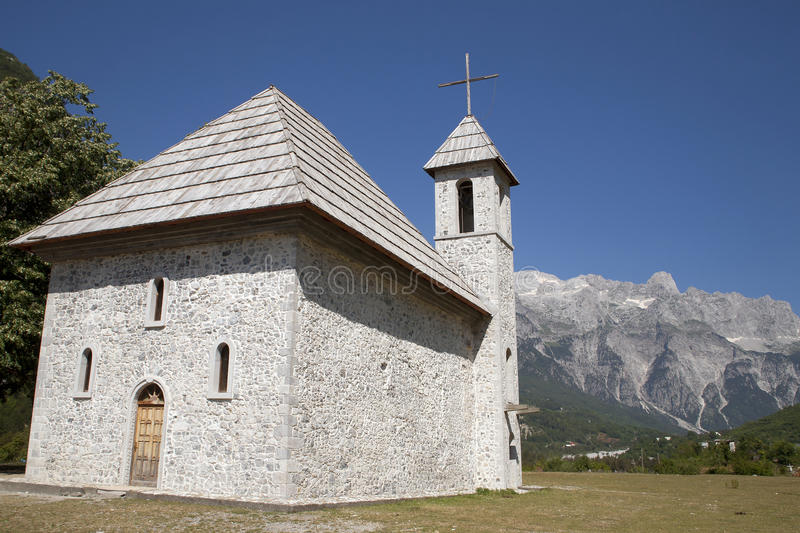 Download Church at Albanian Alps stock photo. Image of tree, summer - 33074106