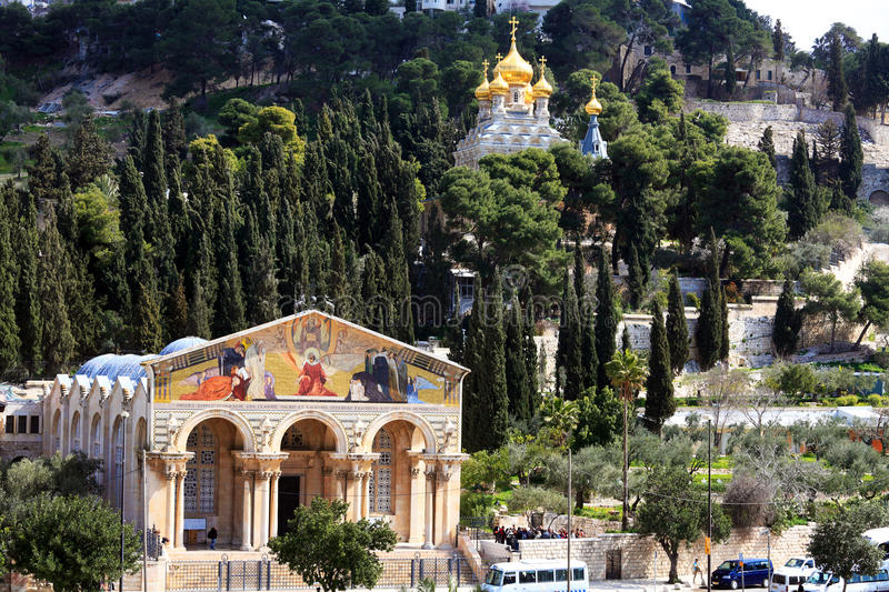 Church of All Nations and Mary Magdalene Convent on the Mount of. Olives, Jerusalem, israel stock image