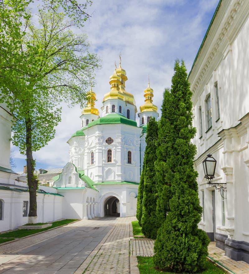 Church of All Saints in the Kyiv Pechersk Lavra, Ukraine. Church of All Saints over the Economic Gate 17th century of Kyiv Pechersk Lavra. View of south facade stock photo