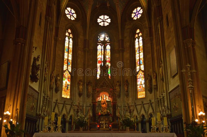 Church altar. An altar is any structure upon which offerings such as sacrifices and worship are made for religious purposes. Altars are usually found at shrines stock image