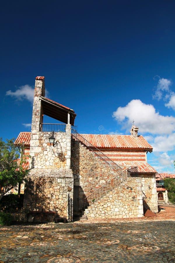 Church in ancient town Altos de Chavon. Church in Altos de Chavon royalty free stock photo