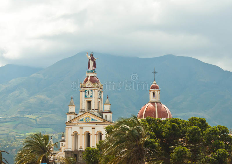 Church in the Andes Mountains. Church dome and steeple seen in Cotacachi in the Andes mountains of Ecuador near the capital city of Quito royalty free stock photo