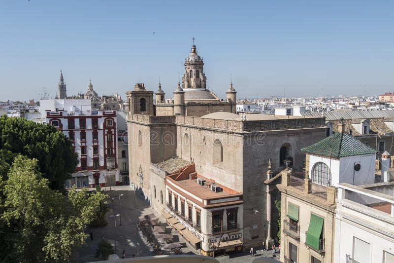 Church of the Annunciation, Giralda and Seville Cathedal in the royalty free stock images