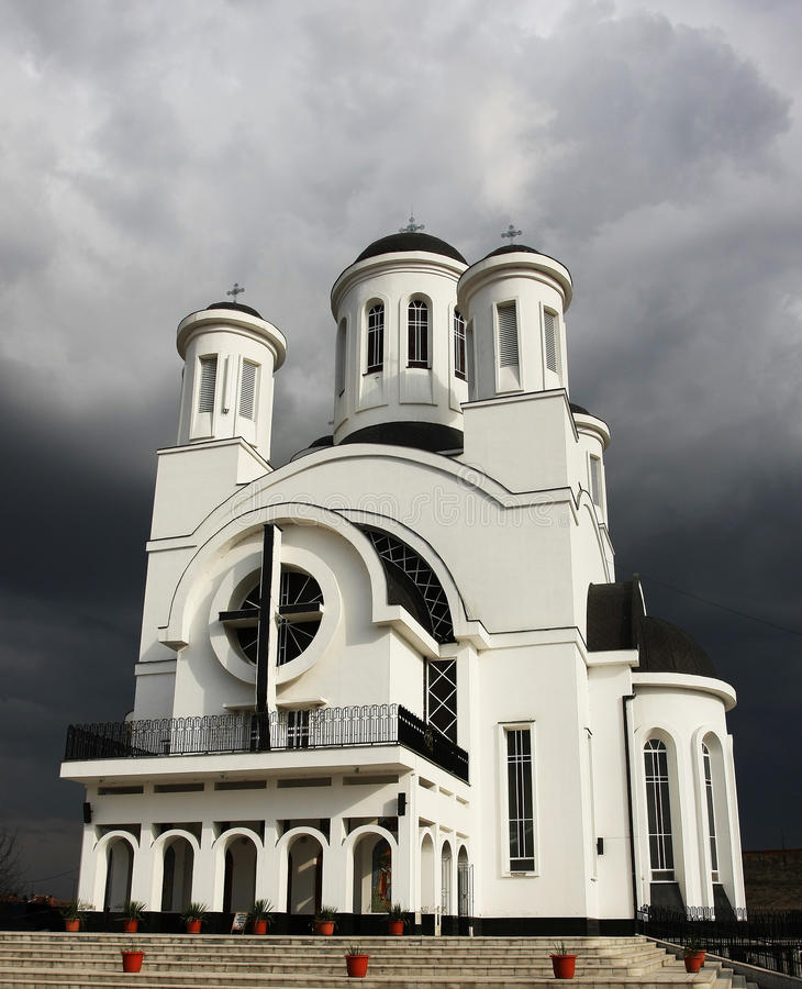 Church and approaching storm royalty free stock photo
