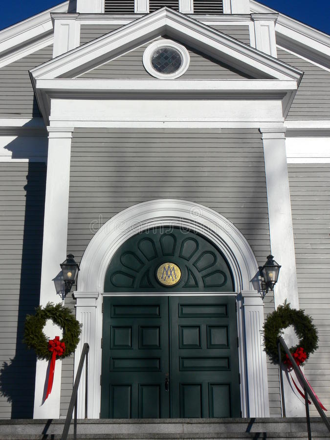 Church: arched entry with wreaths stock photo