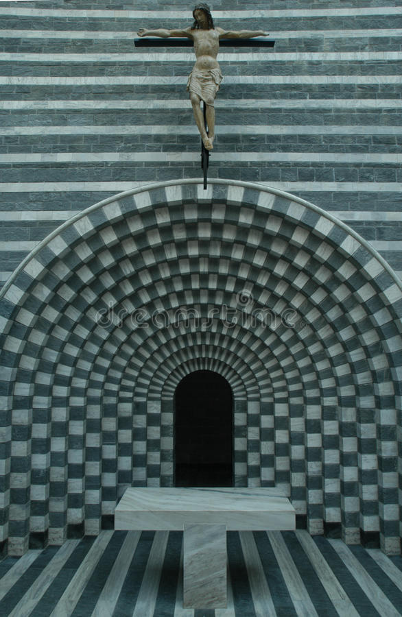 The church of architect Mario Botta at Mogno stock photography