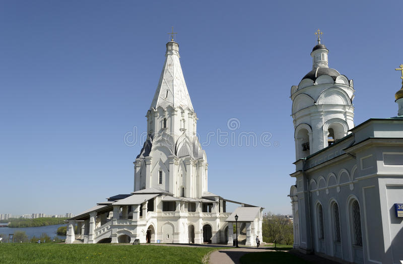 Church of the Ascension. On the imperial estate of Kolomenskoye, near Moscow. One of examples of a traditional wooden tent-roofed church on a stone and brick stock image