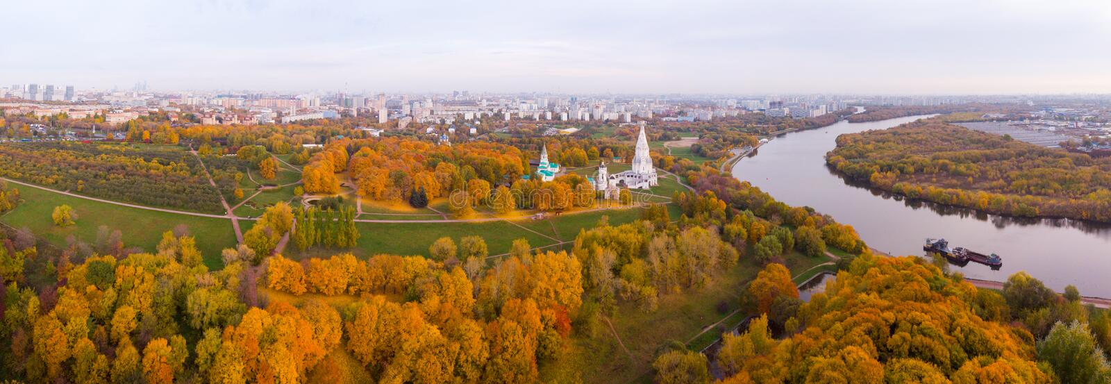 Church of the Ascension in Kolomenskoye park in autumn season aerial view, Moscow, Russia royalty free stock image