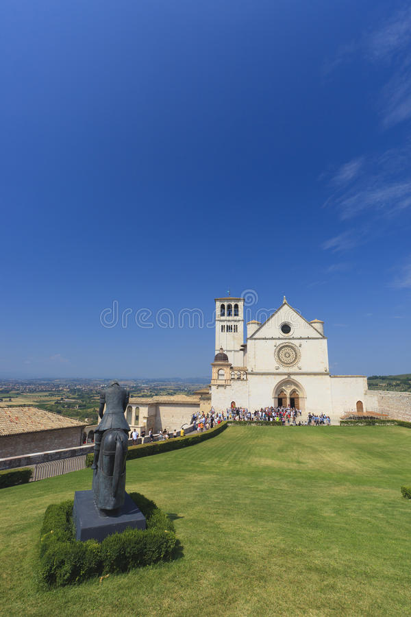 Church in Assisi in Italy. With a blue sky stock image