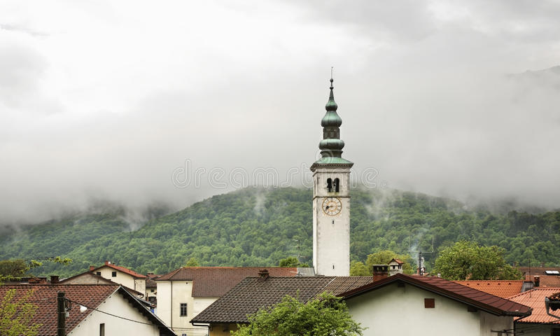 Church of the Assumption in Kobarid. Slovenia.  stock photography