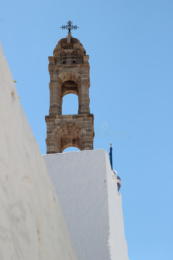 Church of Assumption. Lindos, Rhodes, Greece royalty free stock images