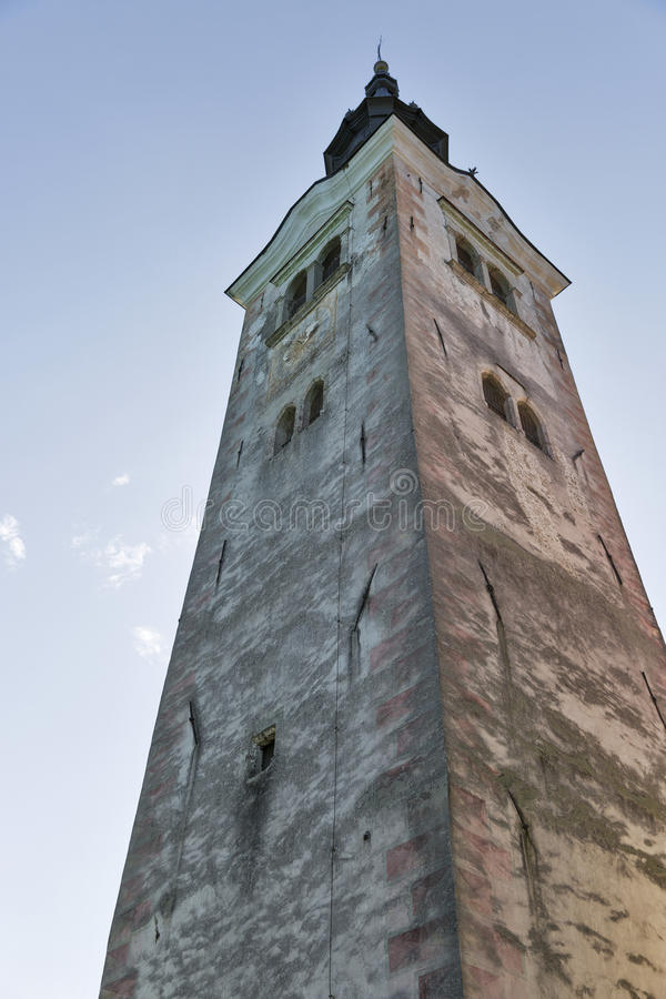 Free Church Assumption Of Mary Bell Tower On Lake Bled Island Stock Image - 63265421