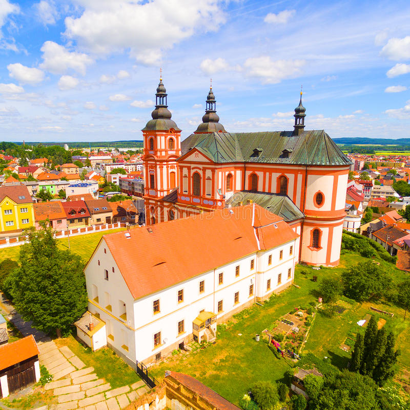 Church of The Assumption. Church of The Assumption 1775 in small town Prestice. Architecture from above. Rare baroque monument in Czech Republic, Central Europe royalty free stock images
