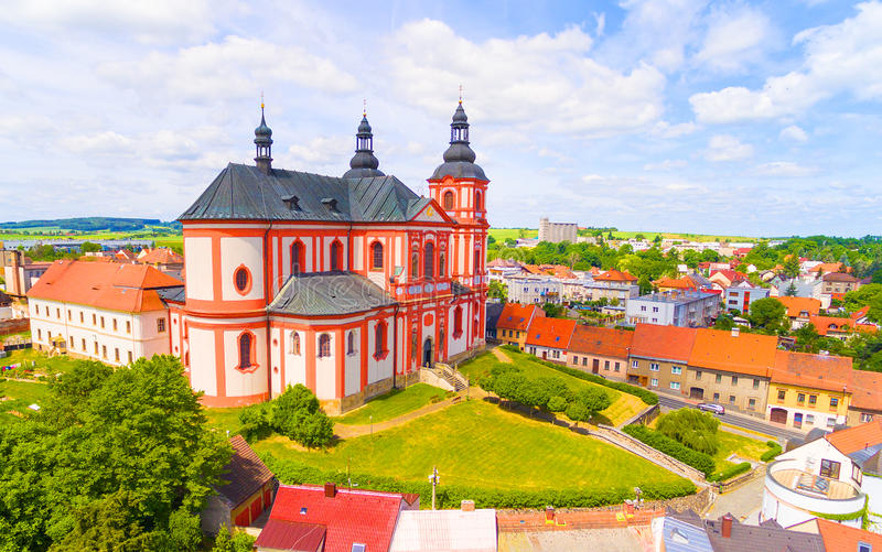 Church of The Assumption. Church of The Assumption 1775 in small town Prestice. Architecture from above. Rare baroque monument in Czech Republic, Central Europe royalty free stock photo