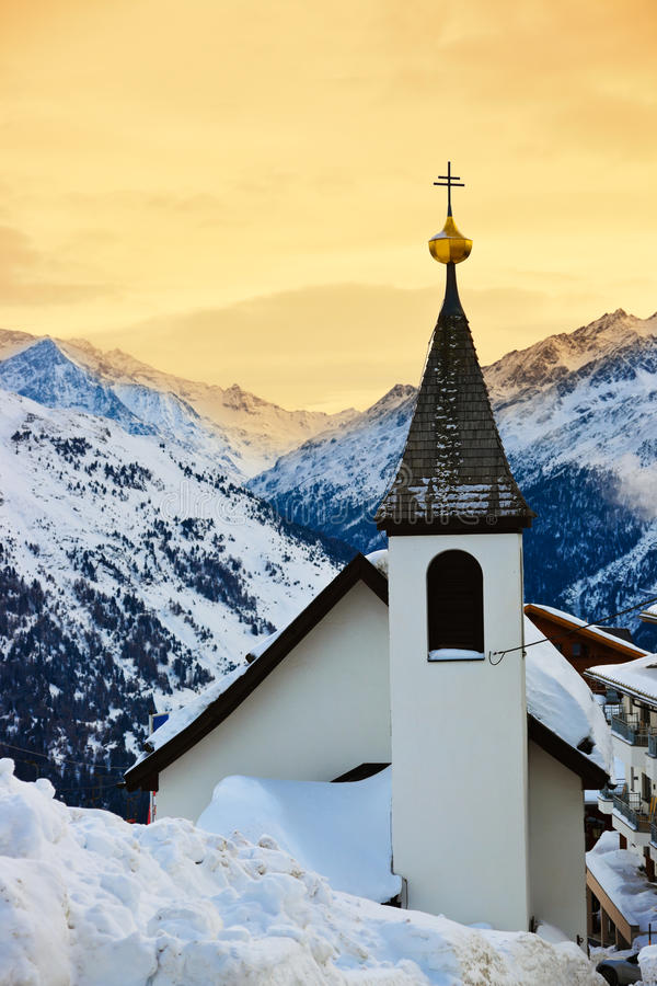 Free Church At Mountains Ski Resort Solden Austria Stock Photography - 27155322