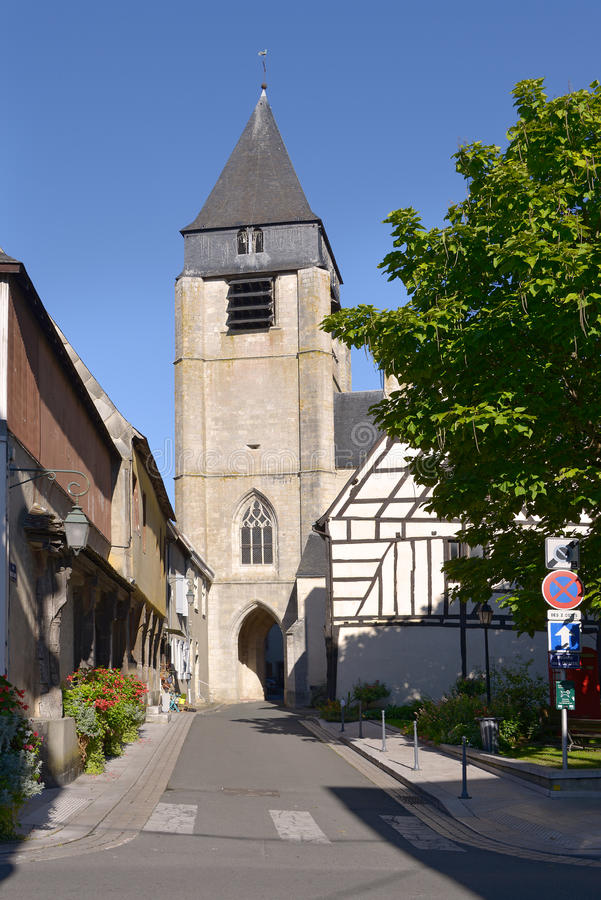 Church of Aubigny-sur-Nère. Church of Saint-Martin at Aubigny-sur-Nère, a commune at the boundary of natural regions of Sologne and Pays-Fort, in the stock photography