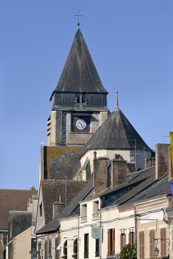 Church of Aubigny-sur-Nère. Church of Saint-Martin at Aubigny-sur-Nère, a commune at the boundary of natural regions of Sologne and Pays-Fort, in the stock photo