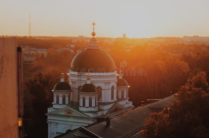 Church in the autumn forest at dawn royalty free stock photos