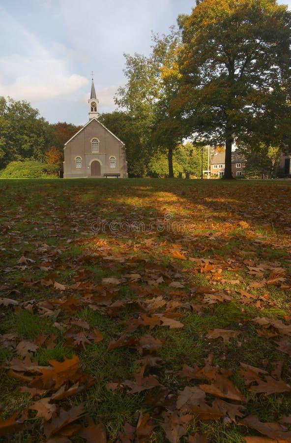 Church with Autumn Leaves stock photos