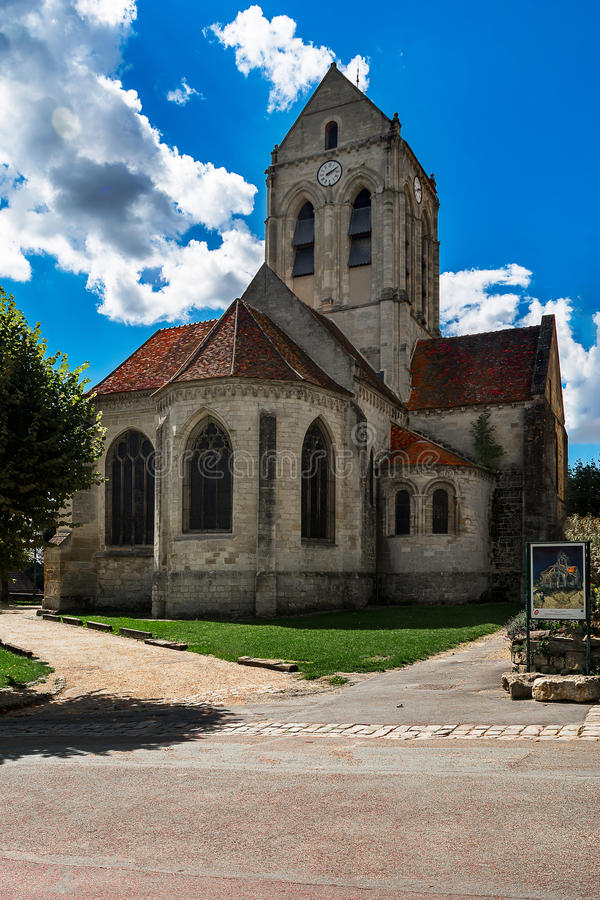 Church of Auvers sur Oise, souvenir of Vincent Van Gogh. French commune of the department of Val d`Oise where stayed and died Vincent Van Gogh stock photo
