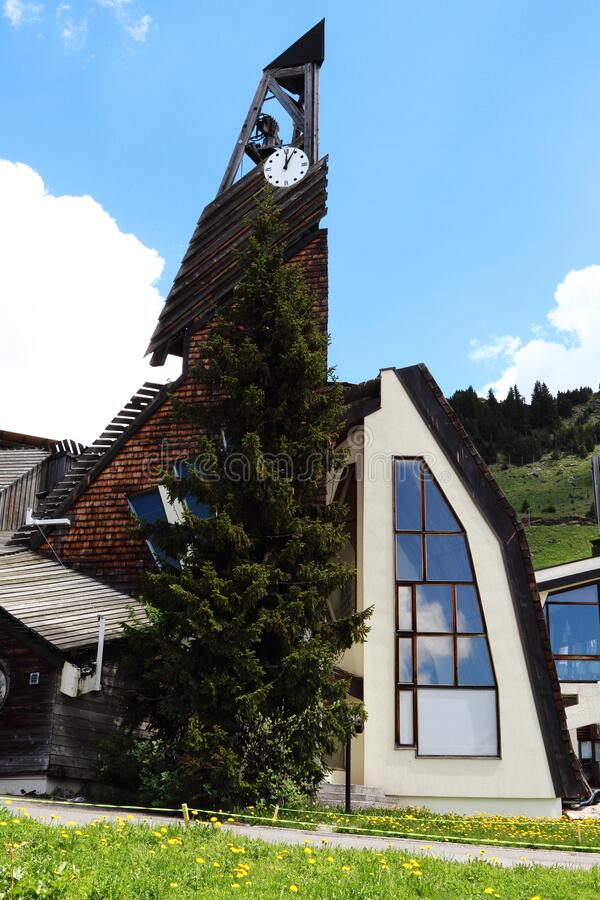 Church of Avoriaz belfry in France royalty free stock images