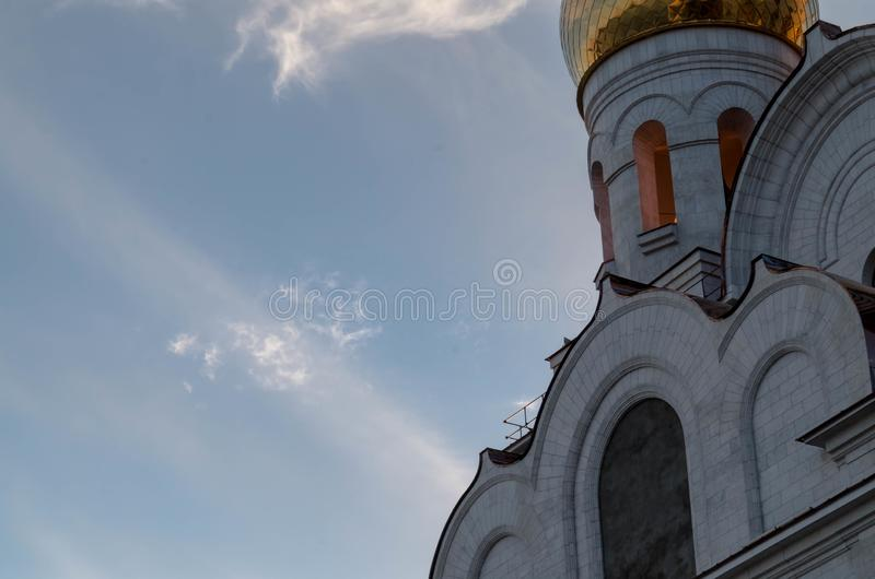 Church on a background of sky and clouds royalty free stock photo
