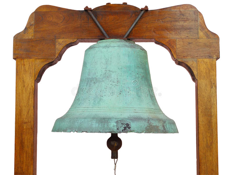 Church bell - 1. Close up of an old church bell isolated over white royalty free stock photos