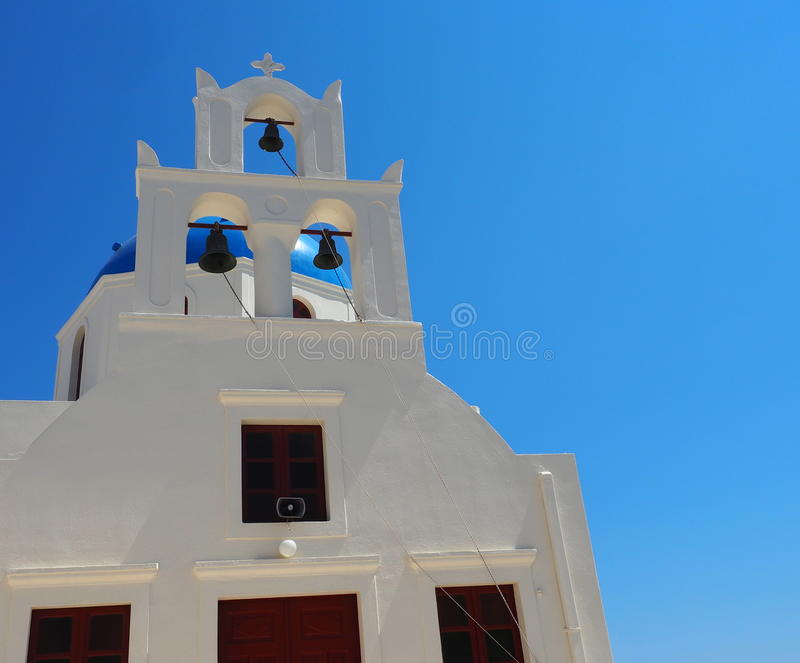 Church Bell In Fira Greece Overlooking The Sea stock photography