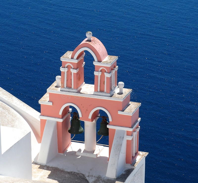 Church Bell In Fira Greece Overlooking The Sea stock image