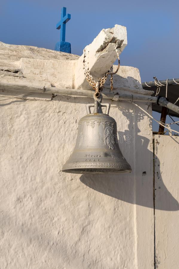 Church bell hanging outside. Close up royalty free stock images