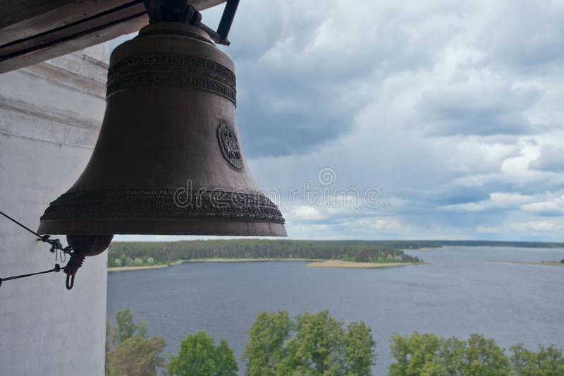 Church bell. Nilov monastery. View of Lake Seliger. Russia. Church bell in the Nilov monastery. View of Lake Seliger. Russia stock photography