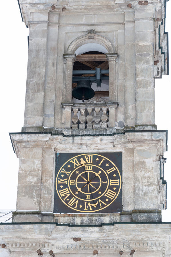 Church bell tower with clock. Of Pazaislis monastery in Kaunas, Lithuania stock image