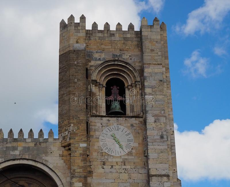 Church Bell Tower And Clock In Lisbon Portugal royalty free stock photos